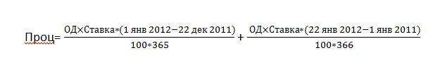 Формула расчета процентов