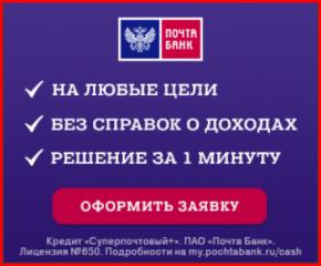 Заявка на кредит в Почта банке